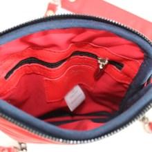 Pochette bandoulière cuir Ondulations rouge