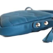 Pochette cuir bandoulière bleu pétrole