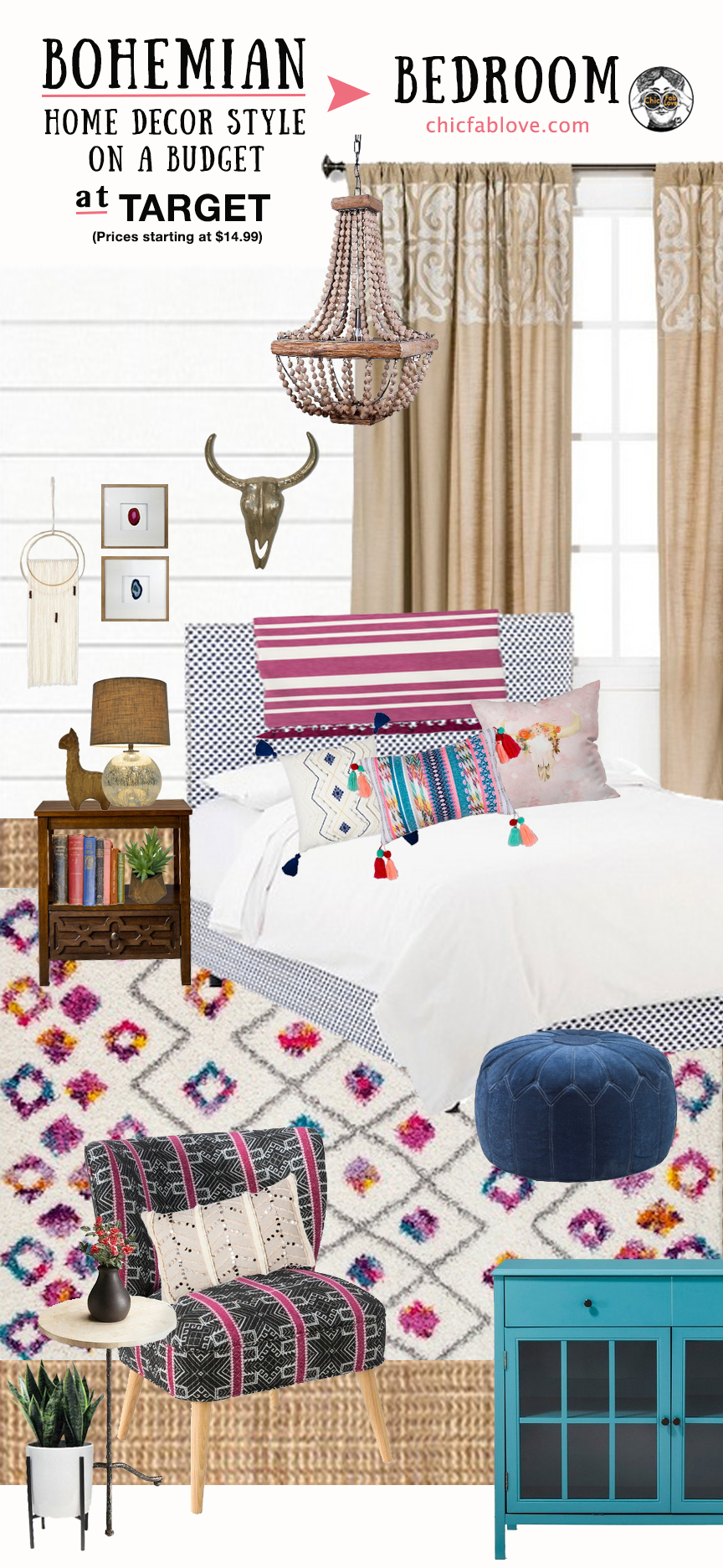Bohemian Home Decor Style on a Budget at Target - Chic+Fab ... on Bohemian Bedroom Ideas On A Budget  id=28292