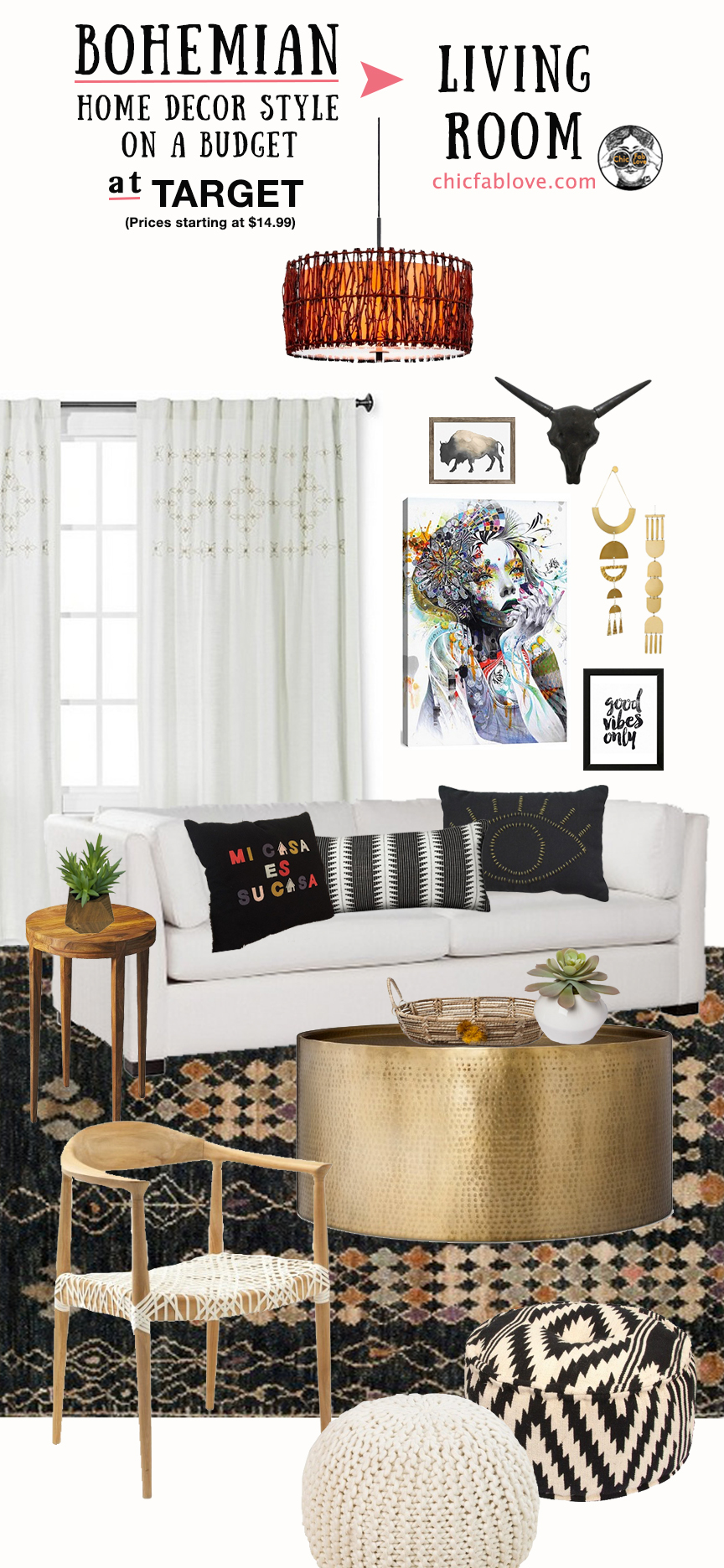 Bohemian Home Decor Style on a Budget at Target - Chic+Fab ... on Boho Bedroom Ideas On A Budget  id=67280