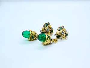 Green Beads Drop Earring