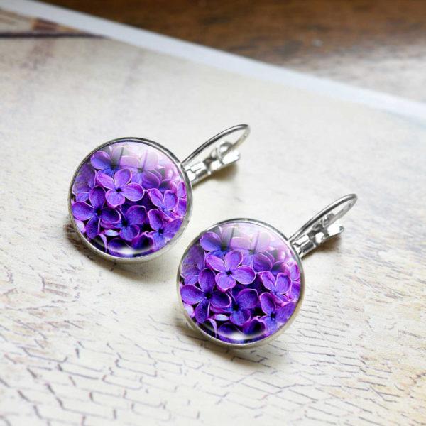 Flower Earring purple