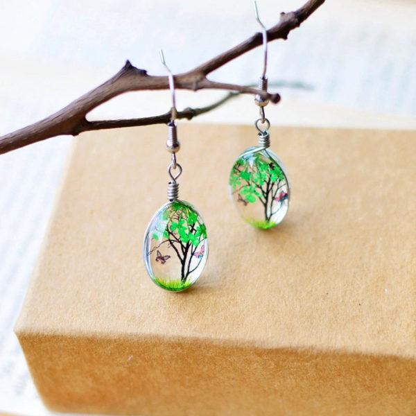 Plant-Drop-Earring-Green
