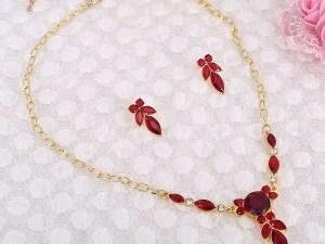 Cubic Crystal Flower Pendant Necklace