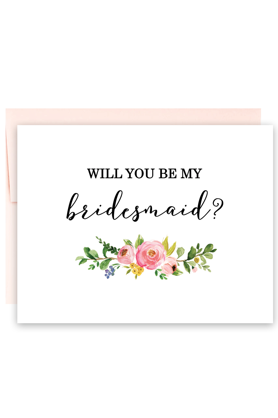 Watercolor Floral Will You Be My Bridesmaid Card Chicfetti