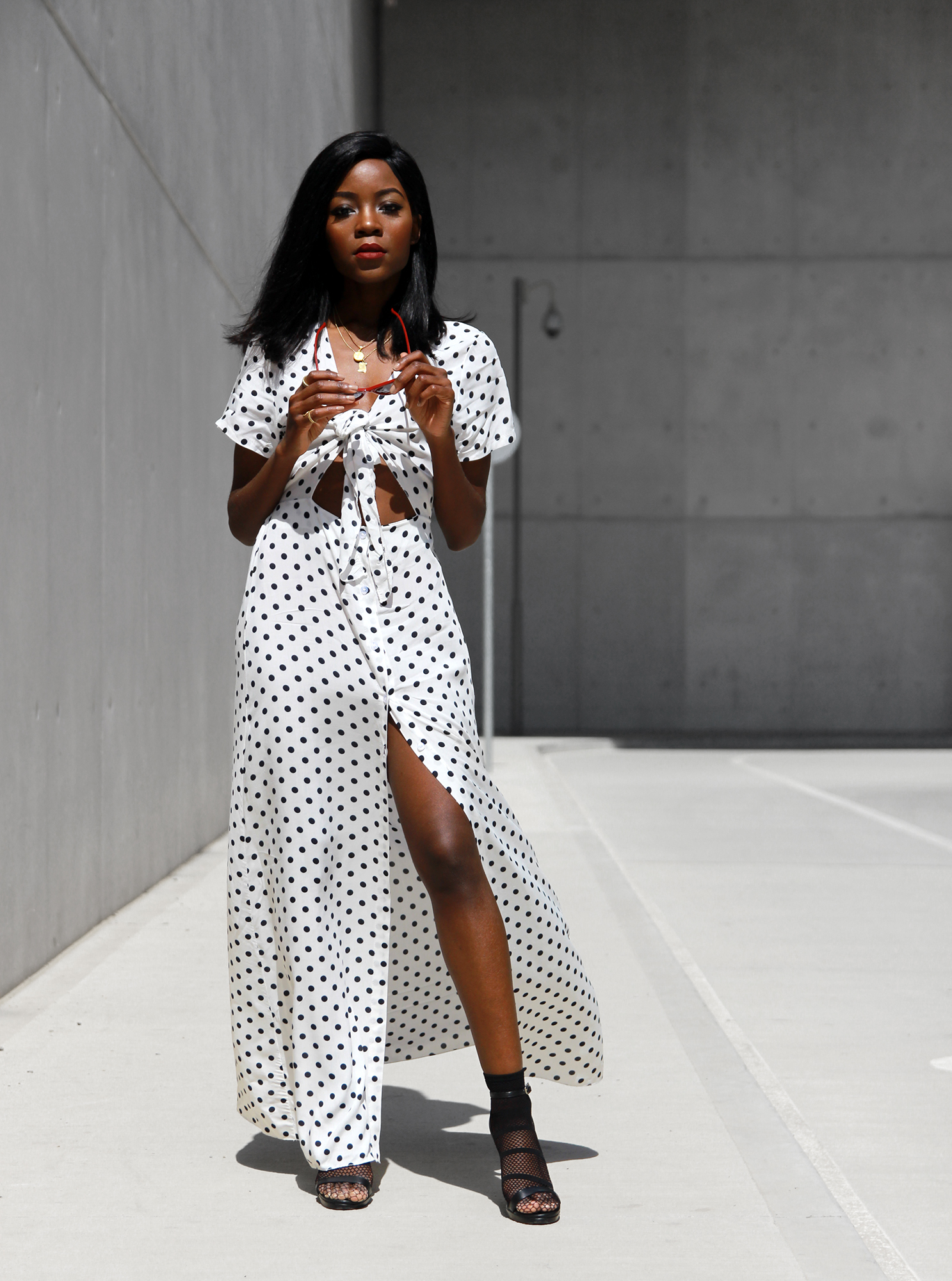 white-polka-dot-dress