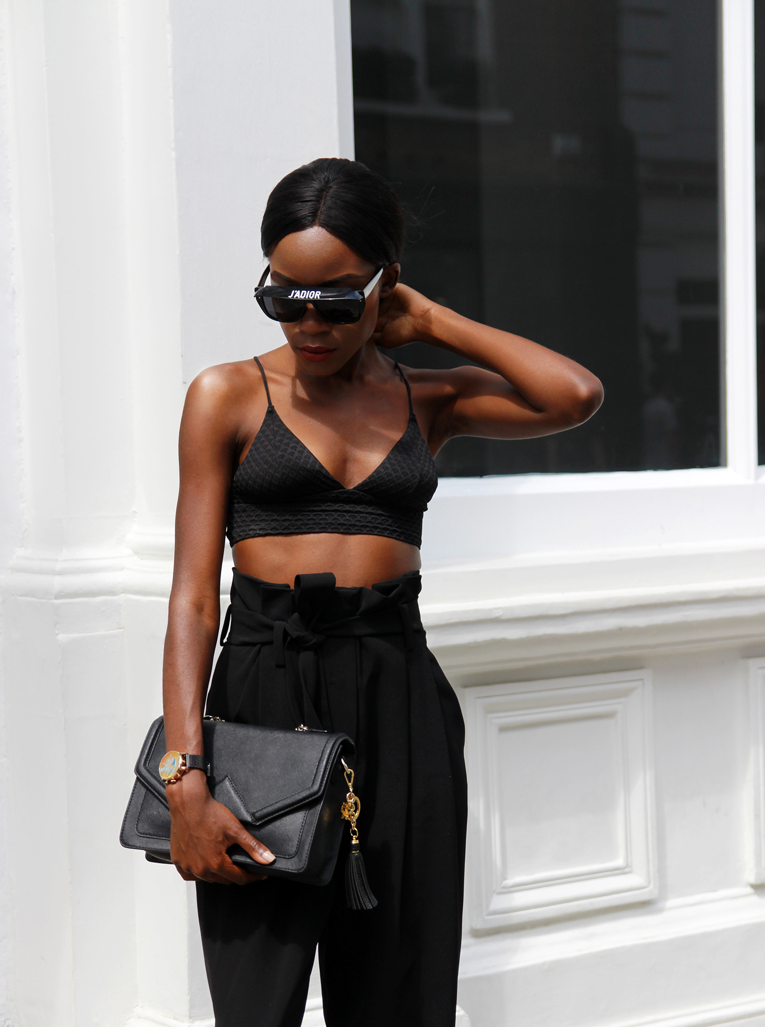 All black outfit featuring Dior Clubmaster 2 sunglasses