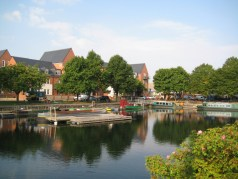 View of the canal basin, trip boats and canal centre