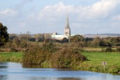 View of Chichester Cathedral fron Chichester Canal