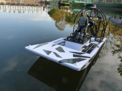 Model airboat at the canal basin