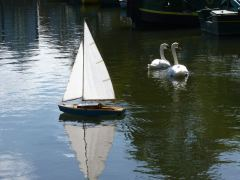 Model yacht in the canal basin