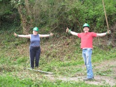 Canal bank volunteers stretch
