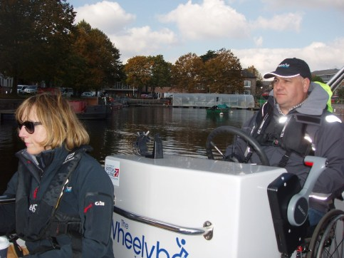 Driving a wheelyboat