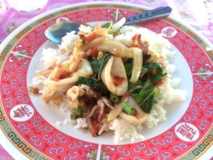 Thai food - stir fried squid with basil leaves and chili