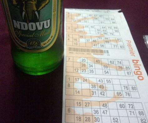 Bingo Card at Upanga Club with Ndovu Beer