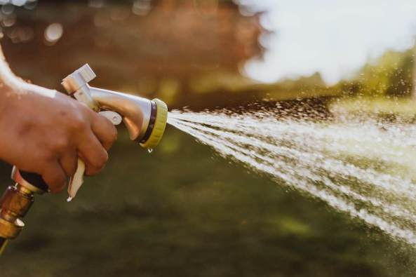 person using a hose, spraying water