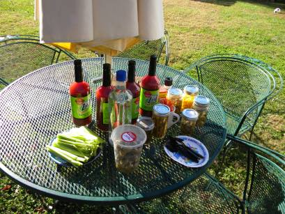 The Bloody Mary Table with it's vast array of pickles.