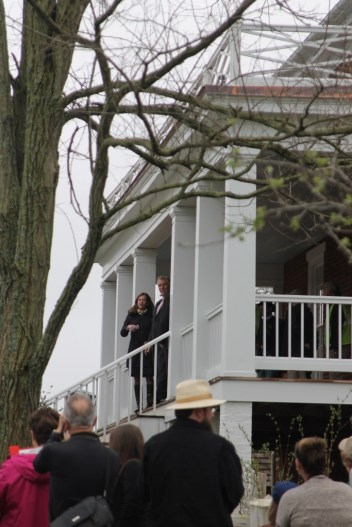 Governer and Mrs. McAuliffe on the front porch of McLean House