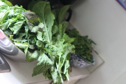 A counter full of greens