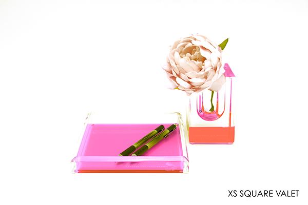 AVF Acrylic Square XS Valet Tray Pink 6x4