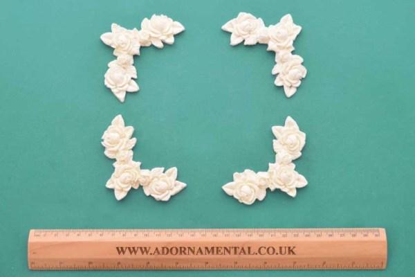 Rose Cluster Corner - Set of 4 Resin Moulding