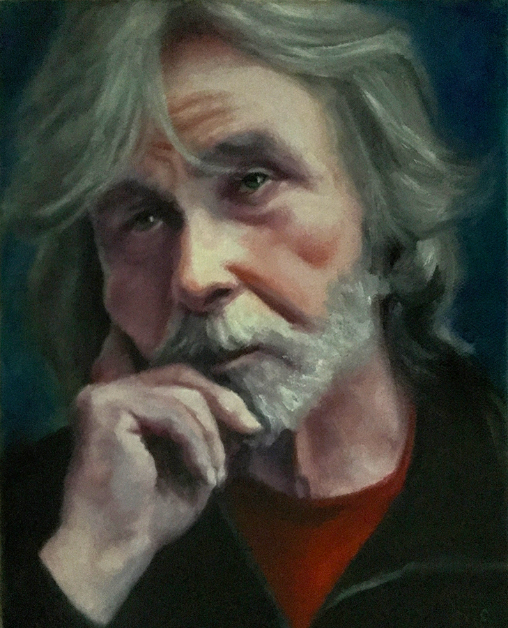 ELAINE DAVIS Waiting to Go Home, 2018 Oil on canvas, $350  This was a homeless gentleman who came to draw portraits in the workshop with us one Friday afternoon here at Chico Art Center. He had been invited by Mark Gailey, who met him and was impressed by his artistic aptitude, at the Jesus Center. He graciously agreed to model for us part of the afternoon. I saw in his face, weariness, longing and a resigned acceptance.