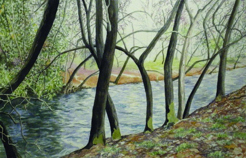 """Nicolai Larsen, """"Big Chico Creek"""", 2014, Watercolor"""