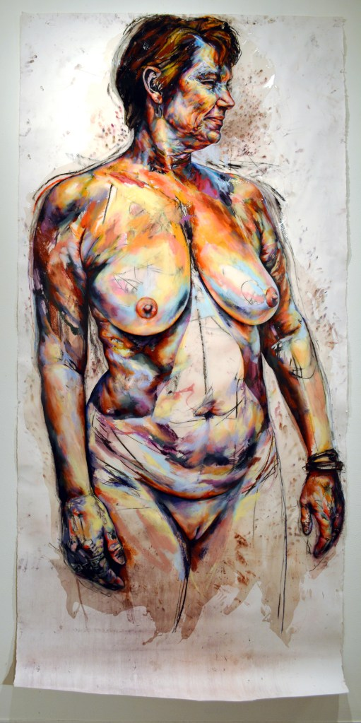 GHISLAINE FREMAUX Erin, 2017 Pastel, resin on paper. NFS  This drawing belongs to a body of work examining the practice of nudism among senior citizens. My subjects' participation was voluntary, and they were not posed. Rather, their very agency instructed my portrayal of them. This work intends to retrieve nakedness and aging from a culture that exploits and maligns both, and to exalt the embodied experiences of older people. Drawing is my means of palpating, charting, and experimenting within corporeality. The portrait begins when my subject and I become visible and thus also responsible to one another. I mine excruciating color from their skin, disclosing it in brittle chalk with my fingers. I make them huge because they are huge. In the intractability of trying to see or know somebody, in the wilds of flesh and gazes, they are huge. I put them into paper because paper is mutable, and can suffer like skin can. I terminate our encounter when I fossilize them there under glossy resin.