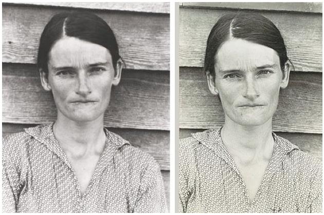 Left: Sherrie Levine, After Walker Evans, 1981, Right: Walker Evans, Alabama Tenant Farmer's Wife, 1936