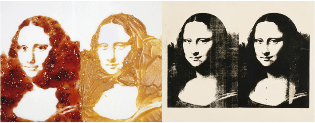 Left: Vik Muniz, Double Mona Lisa (Peanut butter & Jelly), from the series After Warhol, 1999 Digital C Print Right: Andy Warhol,Double Mona Lisa, 1978, silkscreen ink on paper