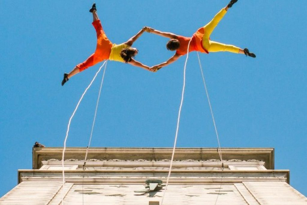 BANDALOOP Dancers Perform on Sather Tower, UC Berkeley, 4/18/2015 Photographed by Kevin Ho Nguyen