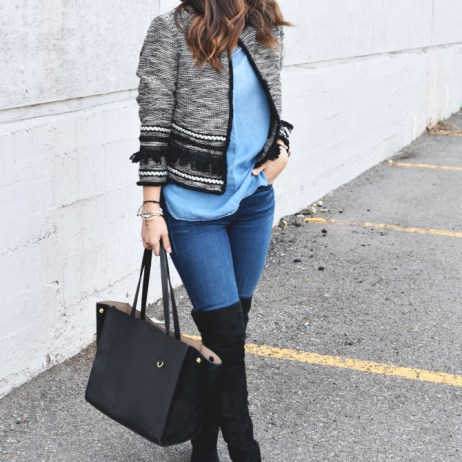 DENIM ON DENIM AND OVER THE KNEE BOOTS