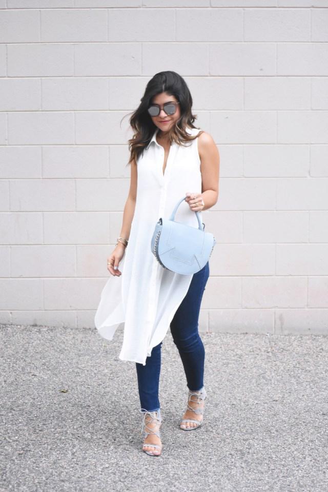 Bar III white long sleeveless top
