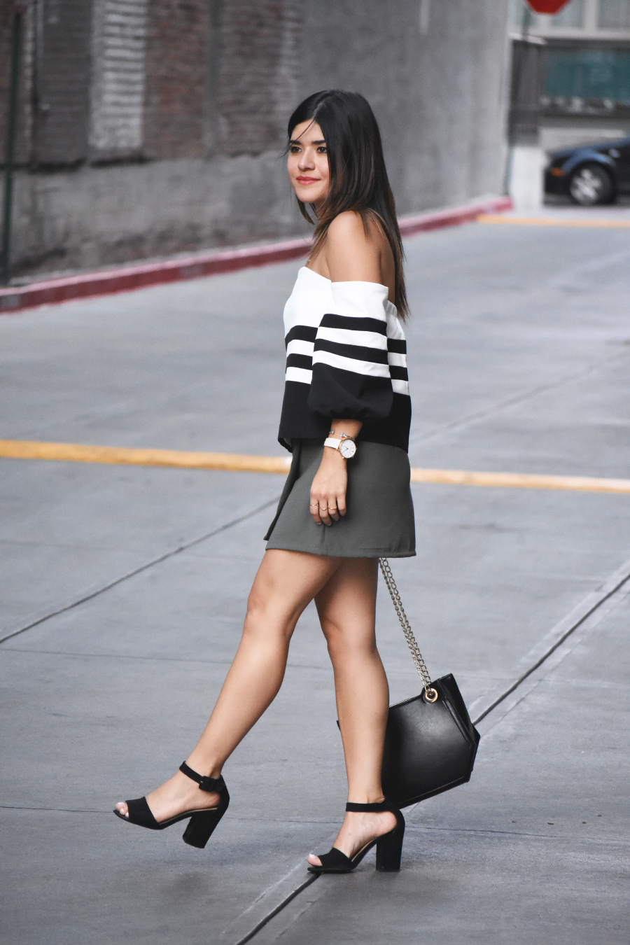 Black and white off the shoulder top