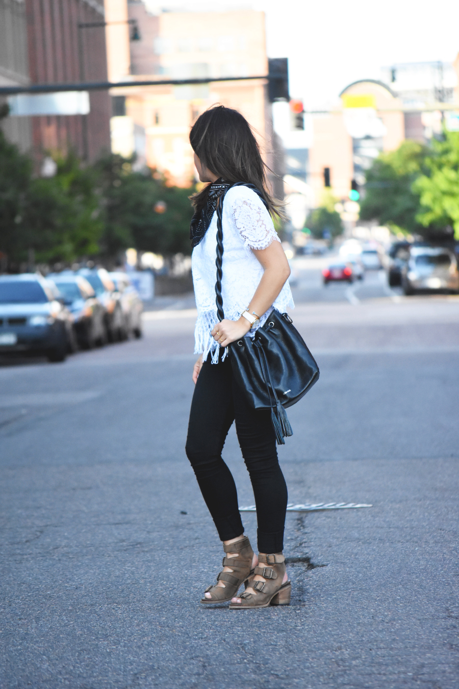 Casual look with freebird buckle sandals