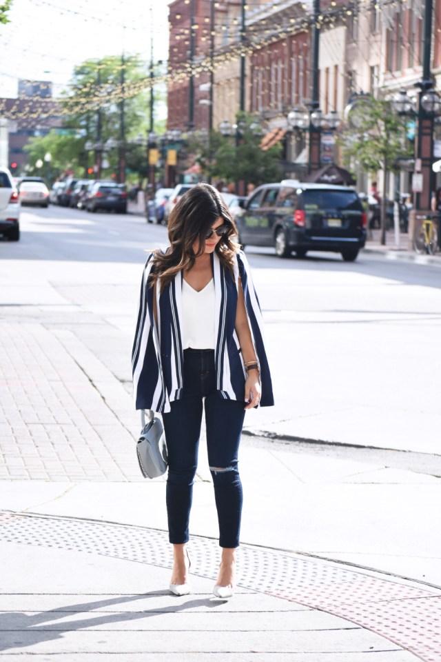 MURAL stripe cape blazer
