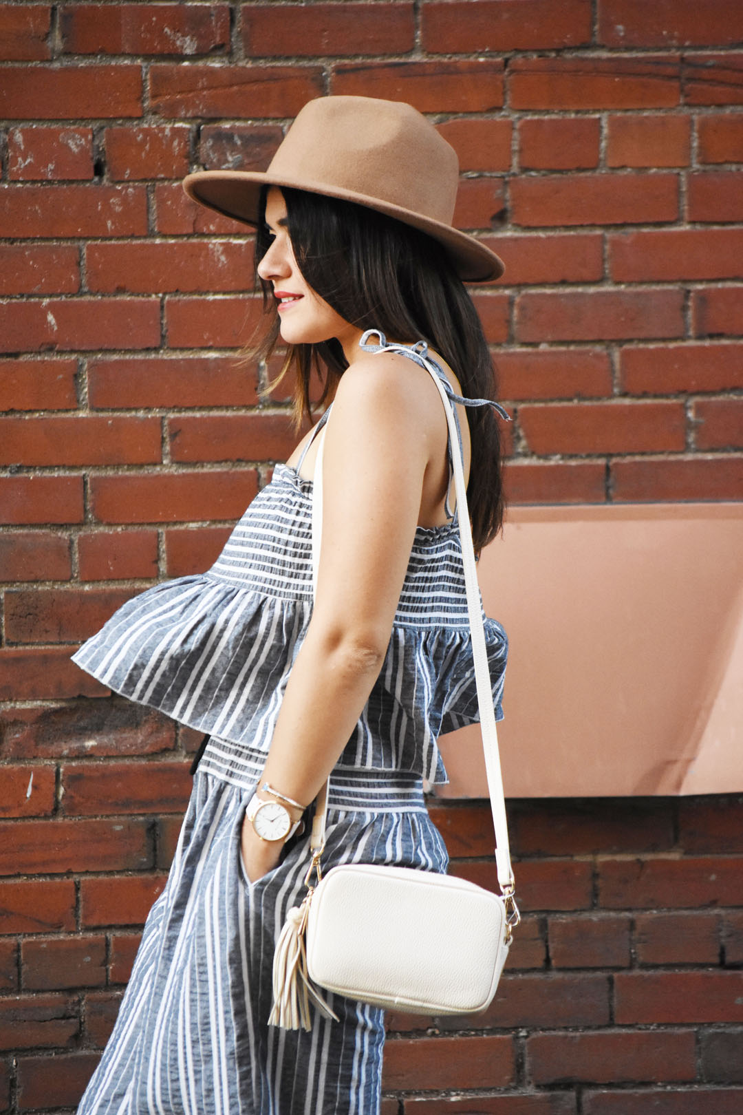 Carolina Hellal of Chic Talk wearing a Forever 21 wool brown fedora, and H&M beige tassel bag