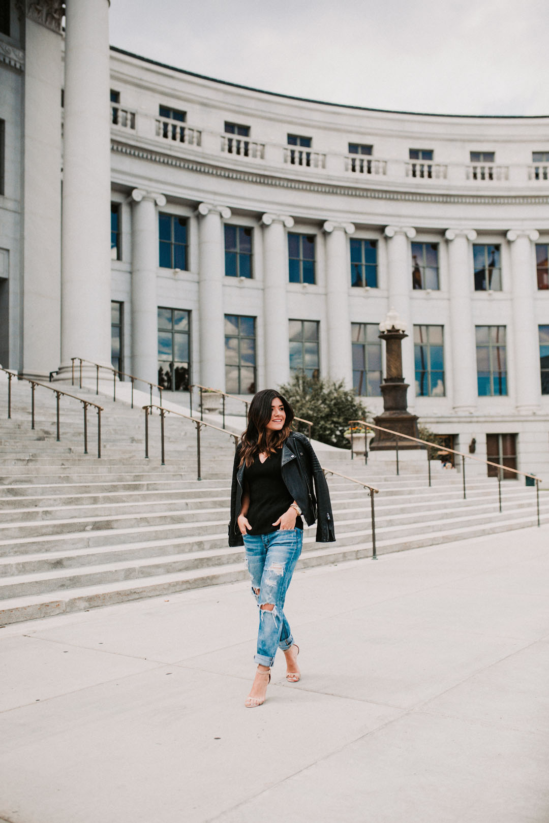 Carolina Hellal of Chic Talk wearing American Eagle Tom Girl jeans and Topshop faux leather jacket