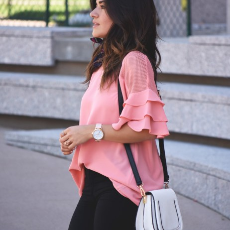 TOP WITH RUFFLES AND MESH DETAILS