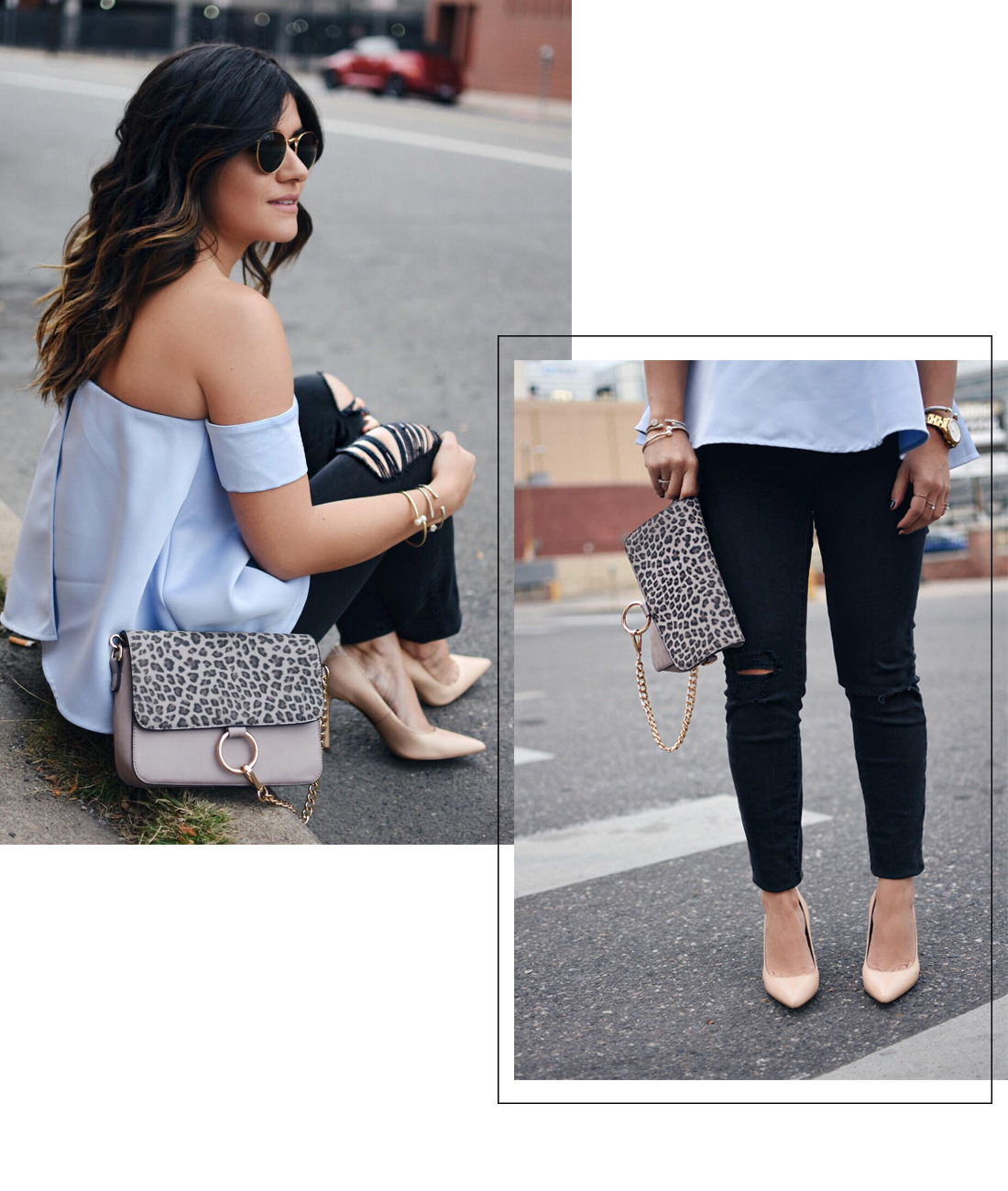 Carolina Hellal of Chic Talk wearing a chicwish strapless top, madewell jeans and Sam Edelman pumps