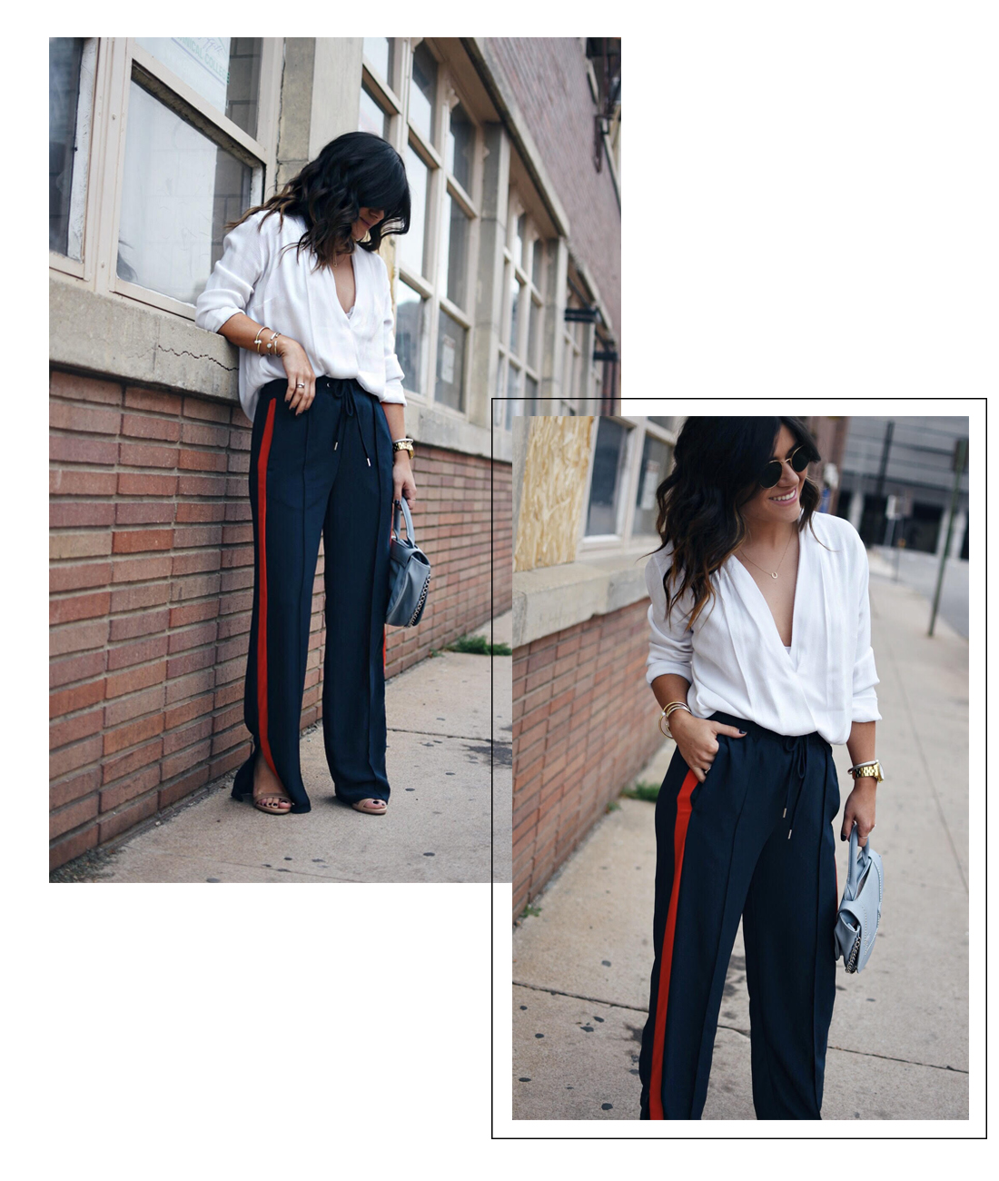 Carolina Hellal of Chic Talk wearing H&M navy blue track pants, white cross front blouse, Kendra Scott gold bracelets, Rayban rounded 50mm sunglasses and Danielle Nicole light blue purse