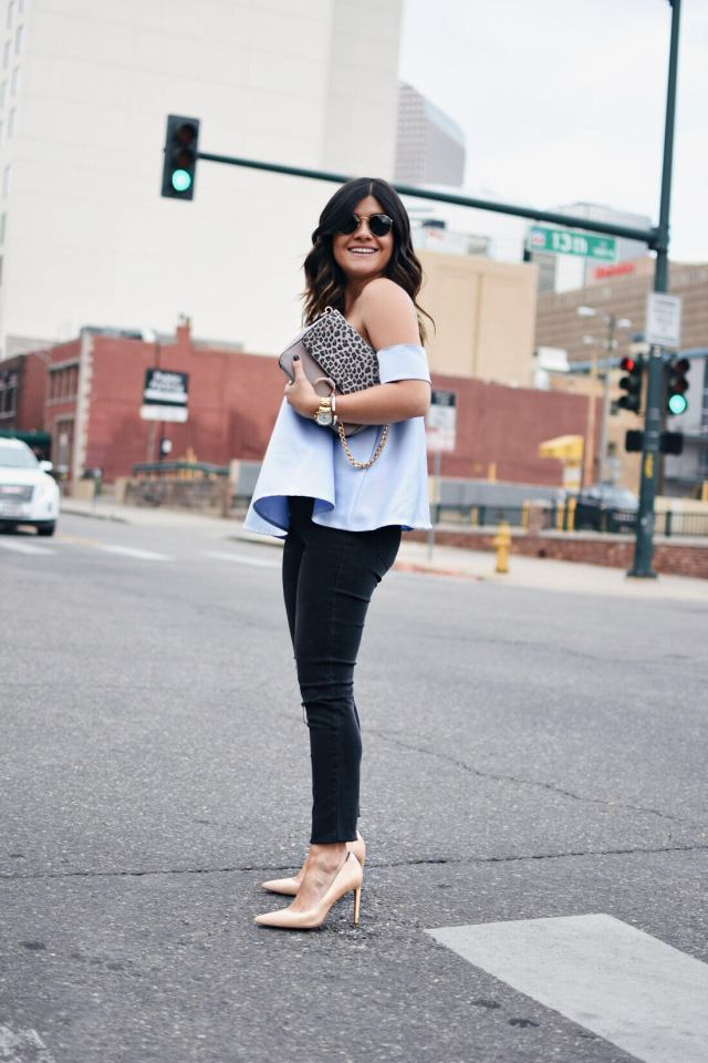 Carolina Hellal of Chicwish wearing a Chicwish strapless top, madewell jeans and Rayban sunglasses