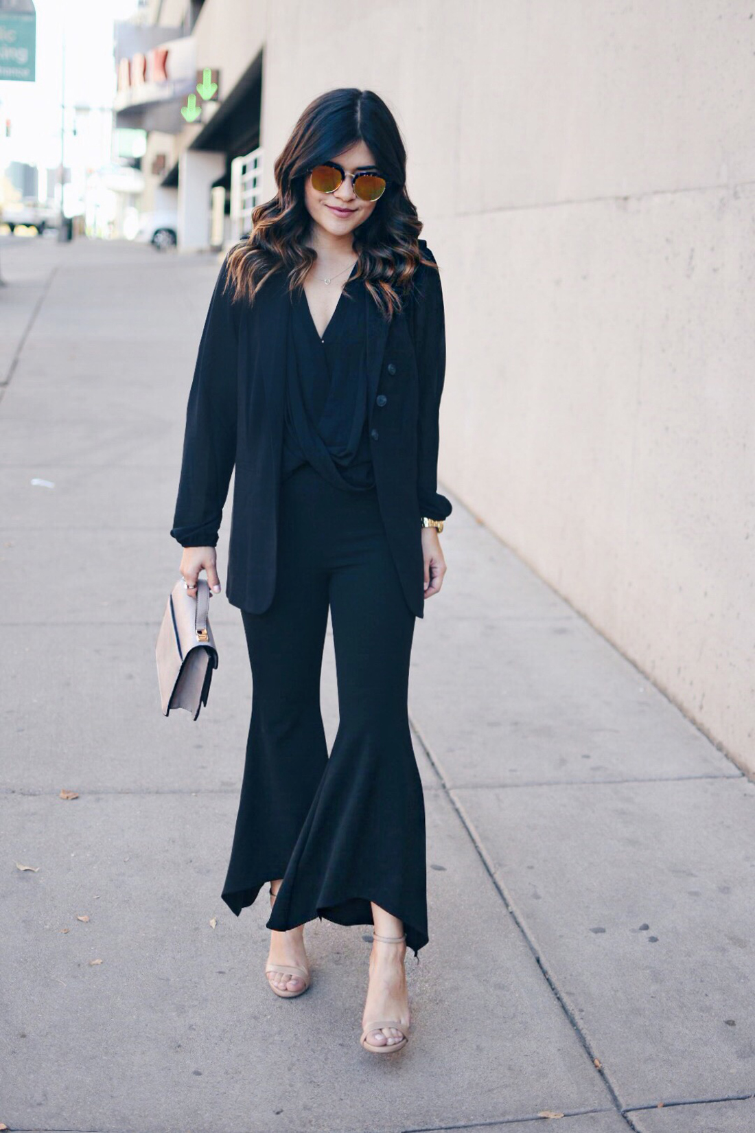 Carolina Hellal of Chic Talk wearing a Forever21 chiffon top, SheIn cropped bell bottom pants, Kensie black vest and Steve Madden nude sandals