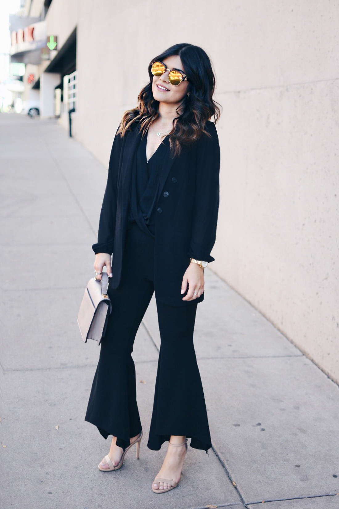 Carolina Hellal of Chic Talk wearing mirror sunglasses, SheIn bell bottom pants, Forever21 black chiffon top and Steve Madden nude strap sandals
