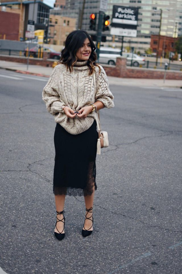 Carolina Hellal of Chic Talk wearing an H&M knit dress, black slip lace dress, and Aldo lace up pointy shoes.