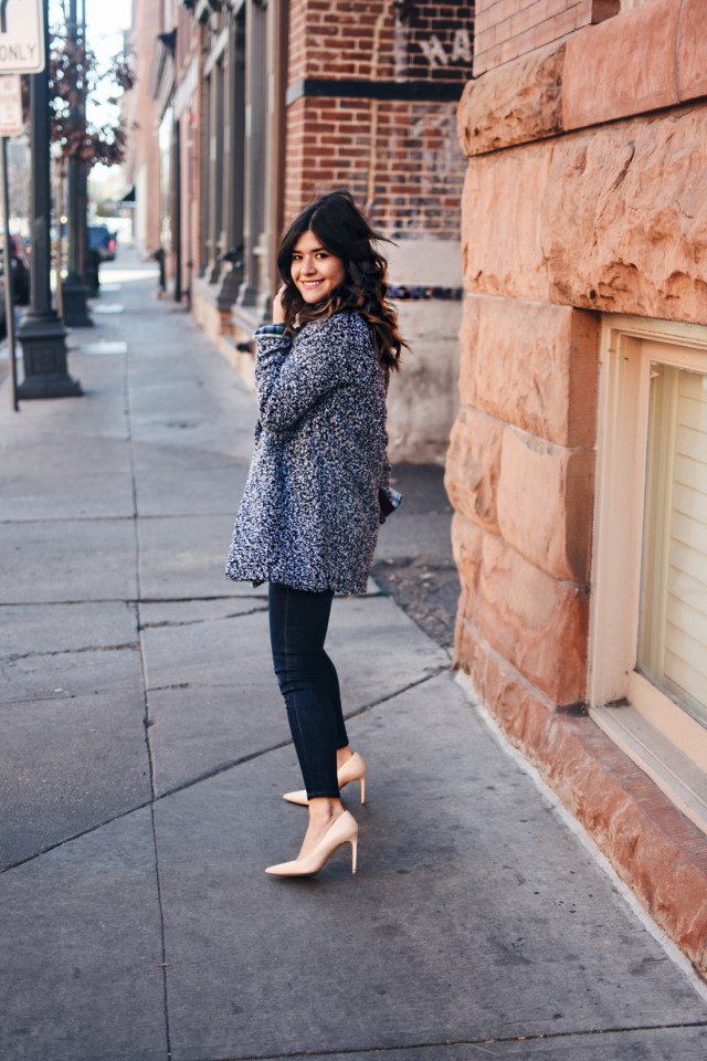 Carolina Hellal of Chic Talk wearing a Total Old Navy winter look