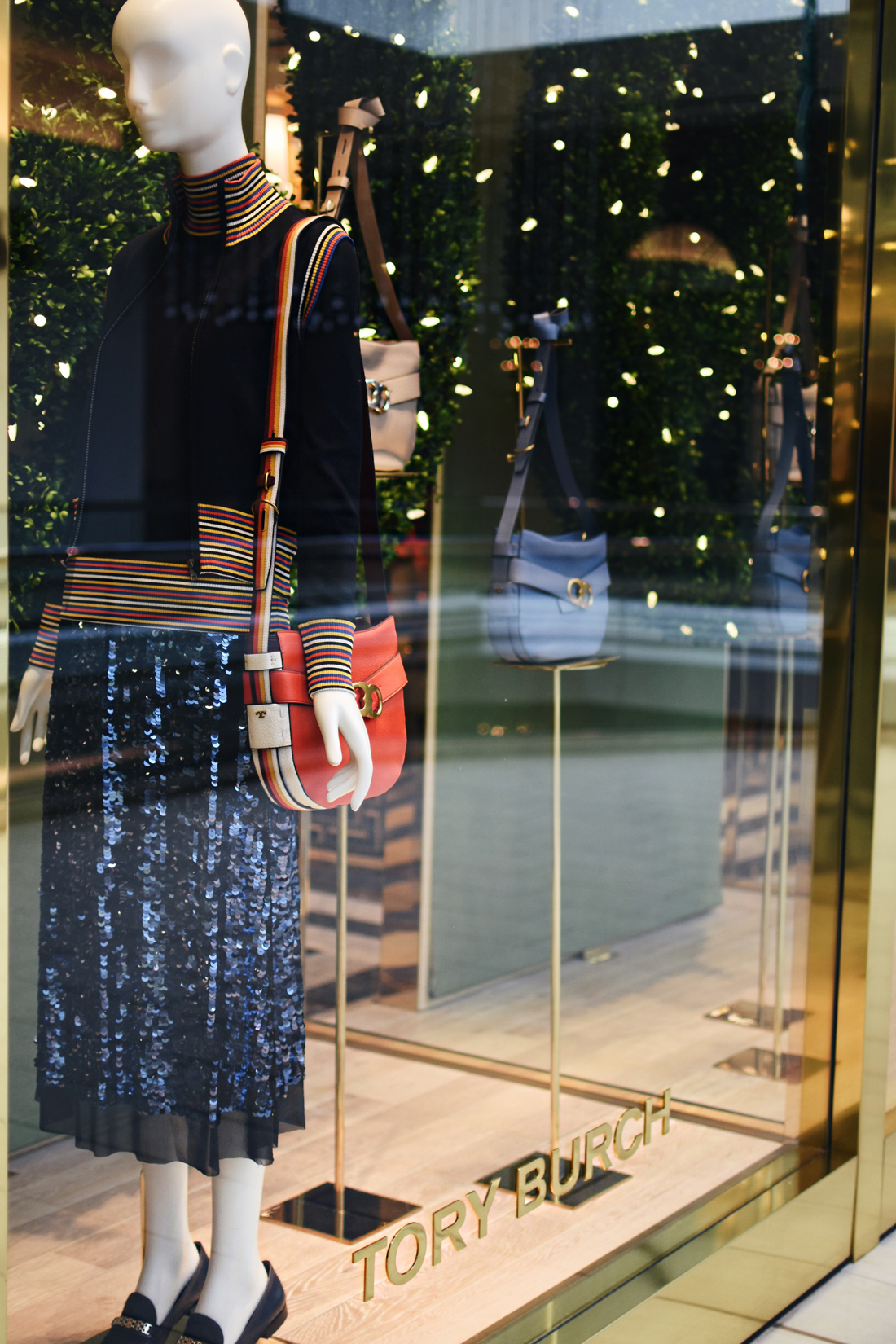 Tory Burch window display at Cherry Creek mall Denver