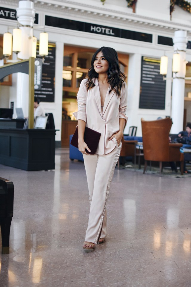 Carolina Hellal of Chic Talk wearing the H&M holiday collection, Steve Madden nude sandals and Old Navy burgundy velvet clutch