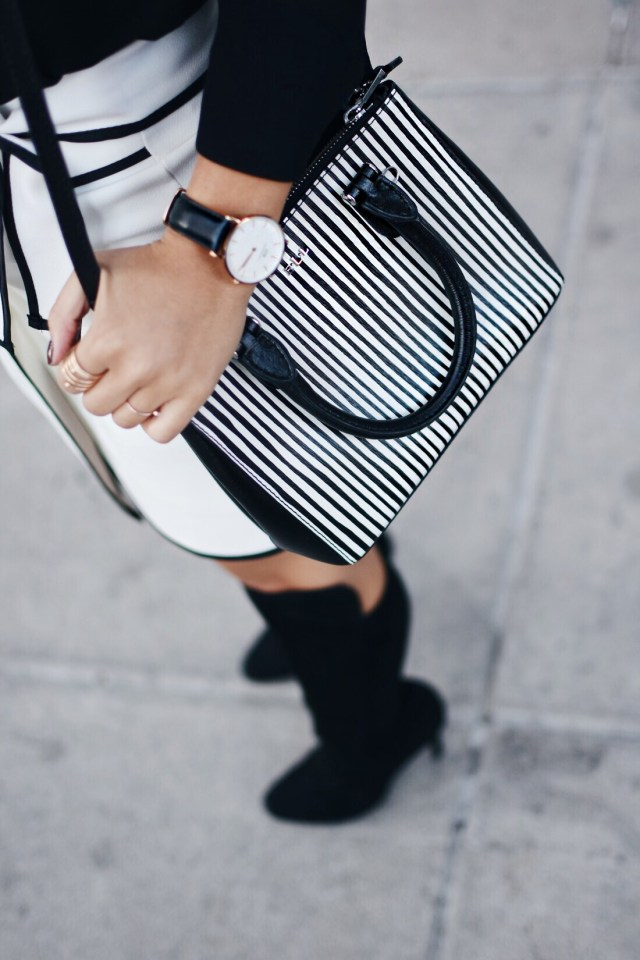 Daniel Wellington watch and Ralph Lauren striped bag