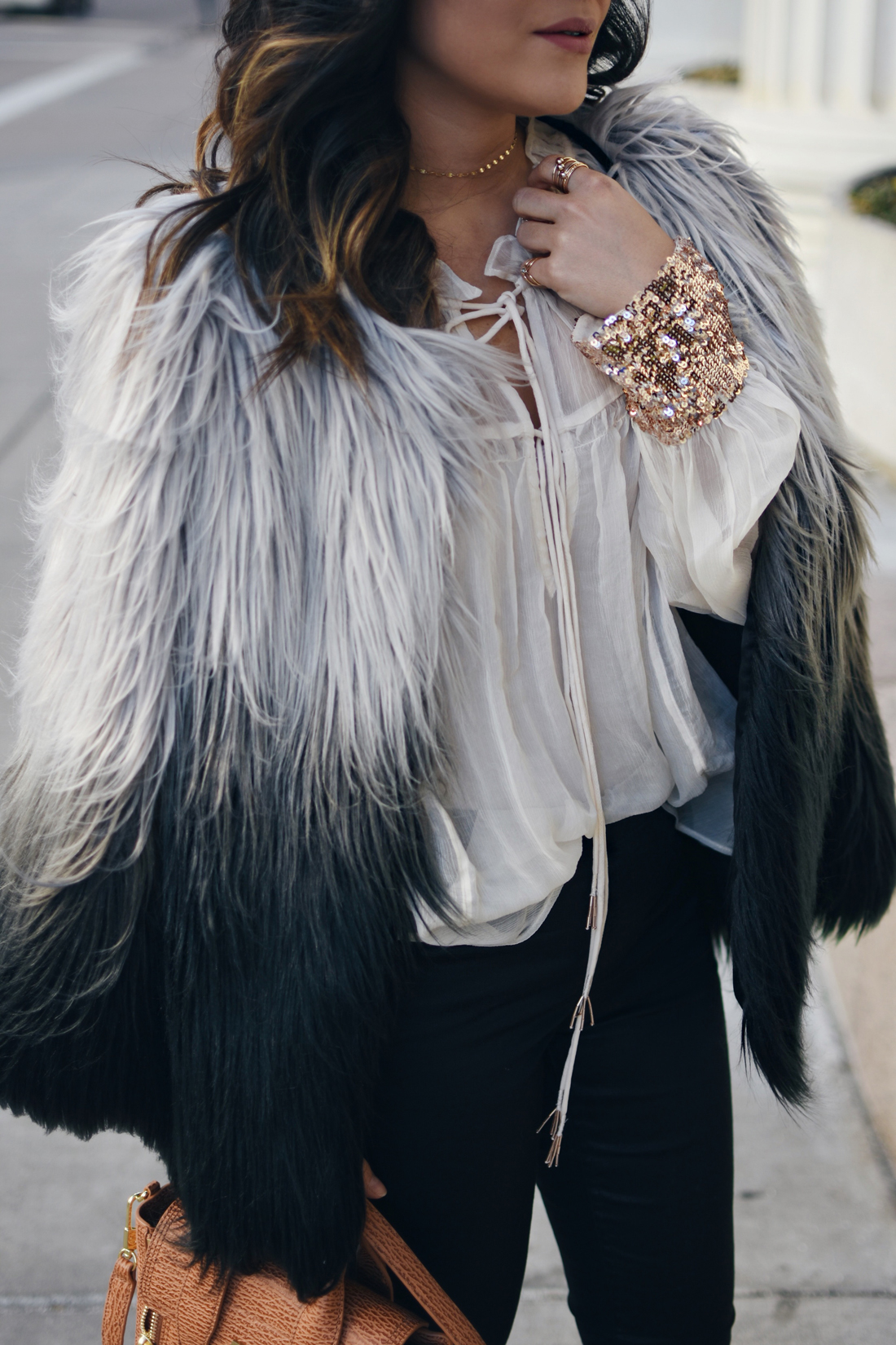 Carolina Hellal of Chic Talk wearing the perfect Faux fur coat via Chicwish